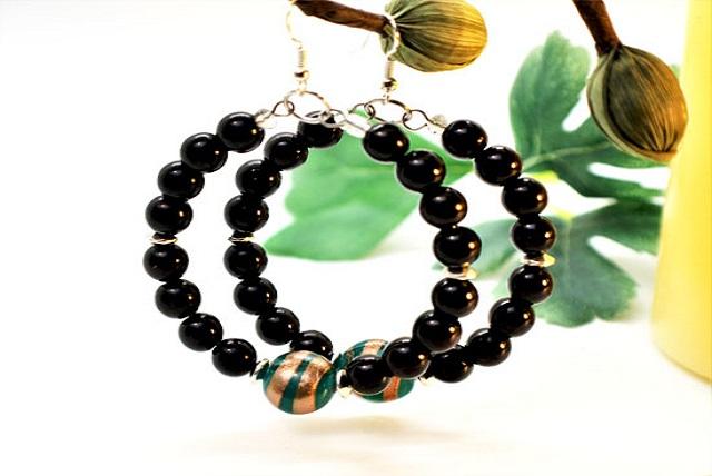 Women black diamond earrings